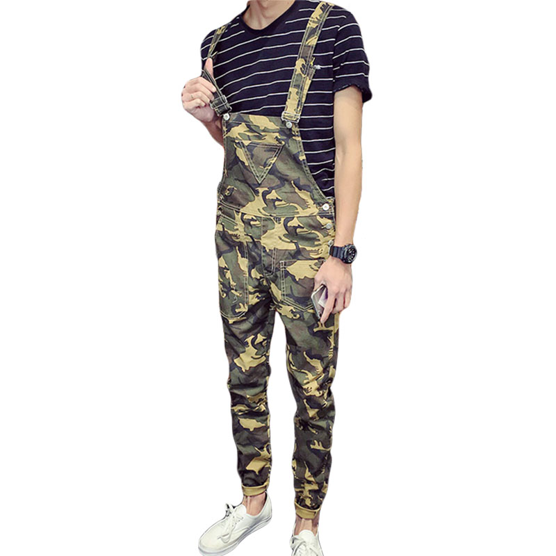 Aolamegs bib overalls men camouflage slim coveralls spring summer new strap jumpsuits pants wear-resistance fashion uniforms