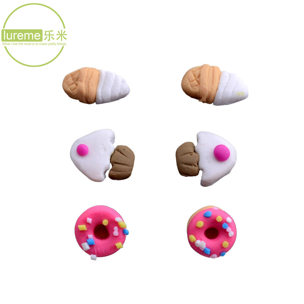 New Fashion 2015 Lureme Lovely Food Fish Stud Earrings Multicolor Set Icecream/Cake/Donut (3 pairs per set) For womens