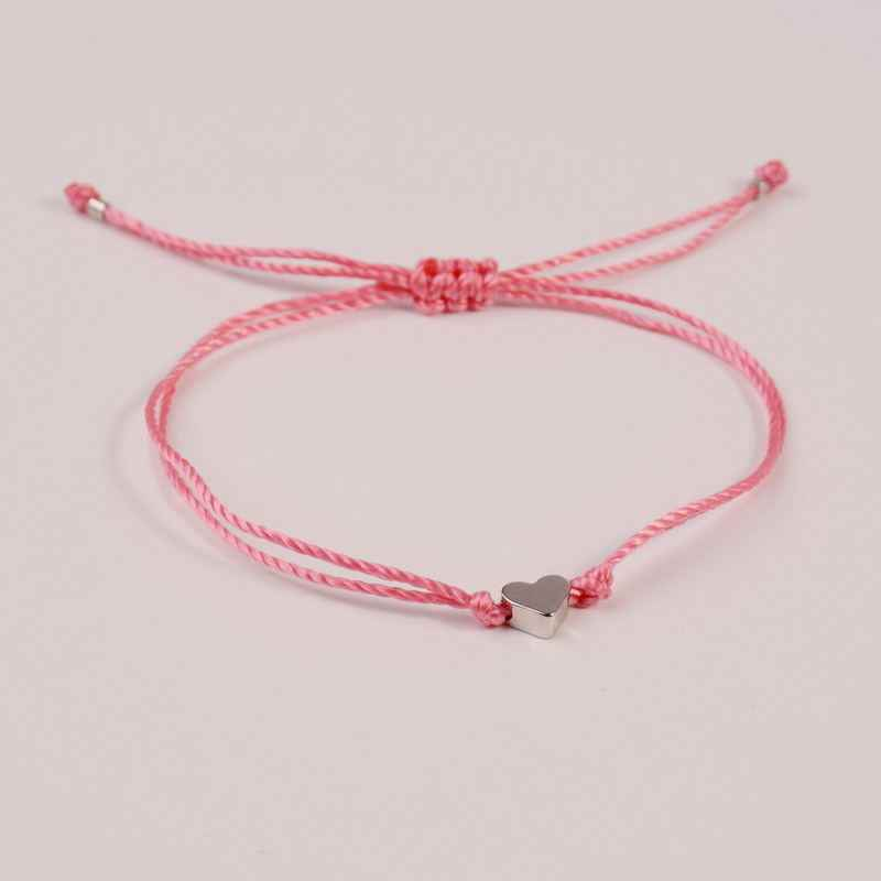 521a74b147 Simple Peach Heart Wish Bracelet Braided Charm Rope Thin String Traditional  Lucky Multicolor Friendship Bracelet Charm Accessory