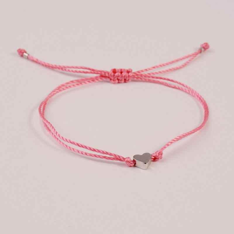 Simples pêssego coração desejo pulseira trançado charme corda fina corda tradicional sorte multicolorido amizade pulseira charme acessório