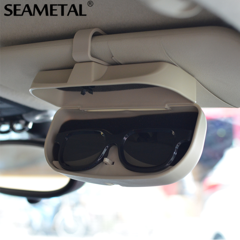 SEAMETAL Car Glasses Case Organizer Box Sunglasses Holder Storage Pockets For Audi BMW VW Toyota KIA Mazda Opel Ford Accessories