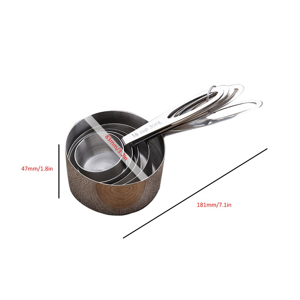 Set of 5 Stainless Steel Measuring Cups 5