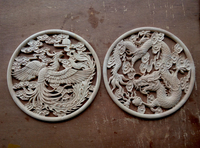 TNUKK 2 slices Wood carving decals, Chinese style home decoration, dragon and phoenix blessing, antique solid wood wall deca.