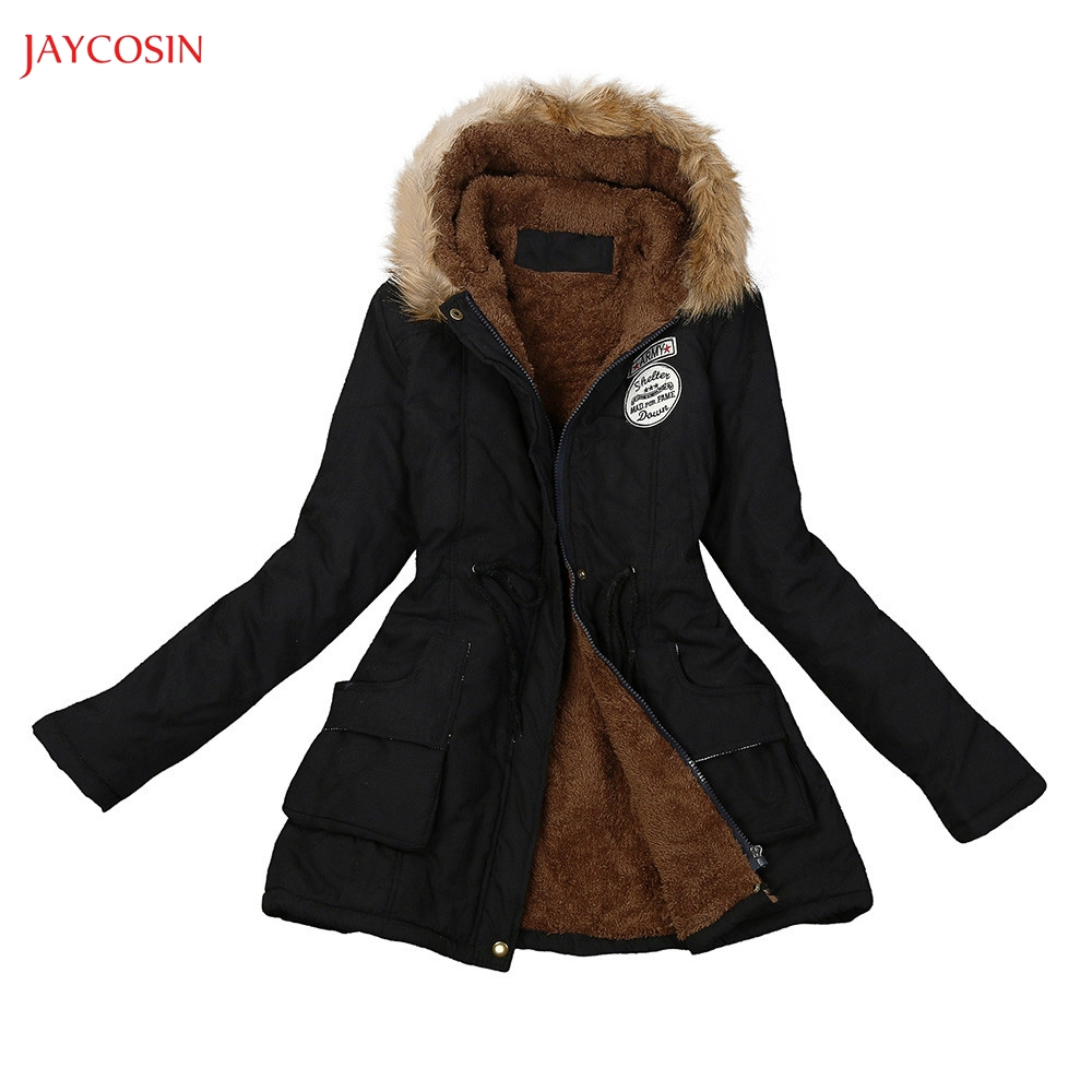 Jaycosin Clothes Girls Medium Long Section Winter Coat Women Fur Collar Hooded Jacket Female Winter Fashion   Parka   Cotton Outwear