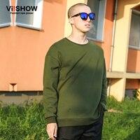 VIISHOW Brand Hoodies Men Casual Solid Sweatshirt Green Long Sleeve Hip Hop Jacket Hoodie Sweatshir M