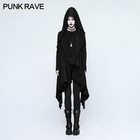 PUNK RAVE Women Jackets Gothic Knitted Hooded Jacket Punk Rock Personality Cardigan Cosplay Party Witch Hooded Long Jacket