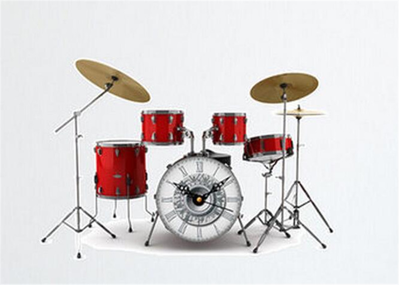 3D Fashion Drums Listening To Music Wall Clock Stickers Modern Design Rock N Roll Home Decor Wall Watch For Music Lover Gift