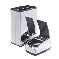 Smart Sensor Trash Can Automatic Wireless Induction Stainless Steel Battery Power Power Dustbin Household Kitchen|Waste Bins| |  -