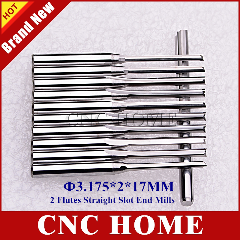 10pcs 3.175mm CED 2mm CEL 17mm Straight Slot Bit Wood Cutter CNC Solid Carbide