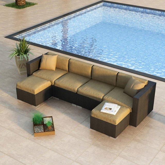 2017 Newest High Quality Wicker Outdoor Furniture Rattan U Shape Sofa Set