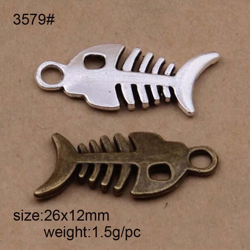 50pcs poisson os Charm Silver Tone Lovely Fish Bone Charm Pendentif 2 faces 15x7mm