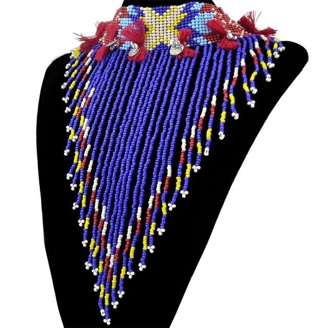 Cuerda de la Campana De Metal De Hoja De Plata Tibetana de bohemia Borlas Largas Cadena Colorida Granos de la Resina Collar de la Declaración Joyería de Las Mujeres