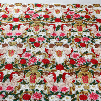 New fashion high quality mixed color polyester hollow embroidered lace fabric 120cm by yard