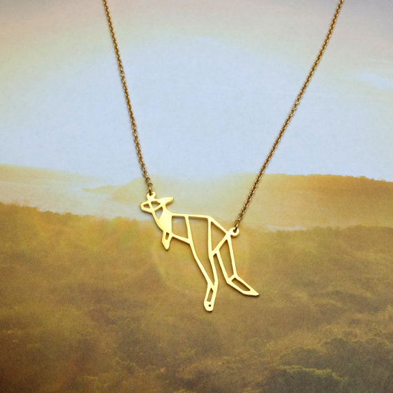 New Trendy Gold Silver Personalized Kangaroo Origami Necklace Animal