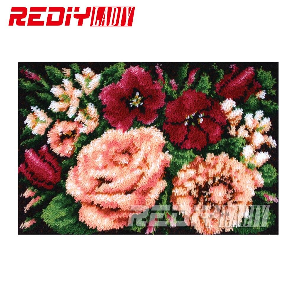 Diy 카펫 깔개 정물 로즈 래치 후크 러그 키트 3d 크로 셰 뜨개질 태피스트리 100% 아크릴 원사 쿠션 자수 바닥 매트 세트-에서자물쇠 고리부터 홈 & 가든 의  그룹 1