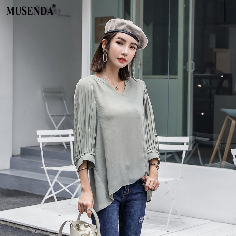 MUSENDA Plus Size Women Green Loose V Neck Pleated Lantern Sleeve Blouse New 2018 Autumn Female Ladies Casual Street Shirt Top