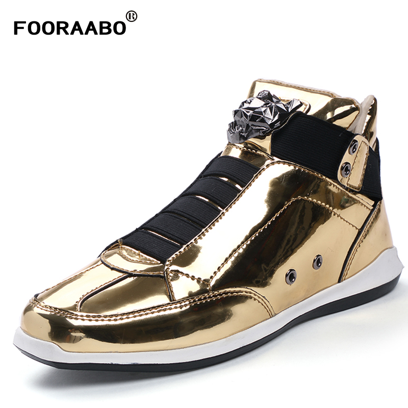 Fooraabo New Hot Sell Mens Bright Casual Shoes Breathable Autumn High Top Shoes Sapatos Super Male Fashion Leather Shoes Flats gran epos 2017 new mens casual shoes man flats breathable fashion low high top shoes men hip hop dance shoes for male zapato