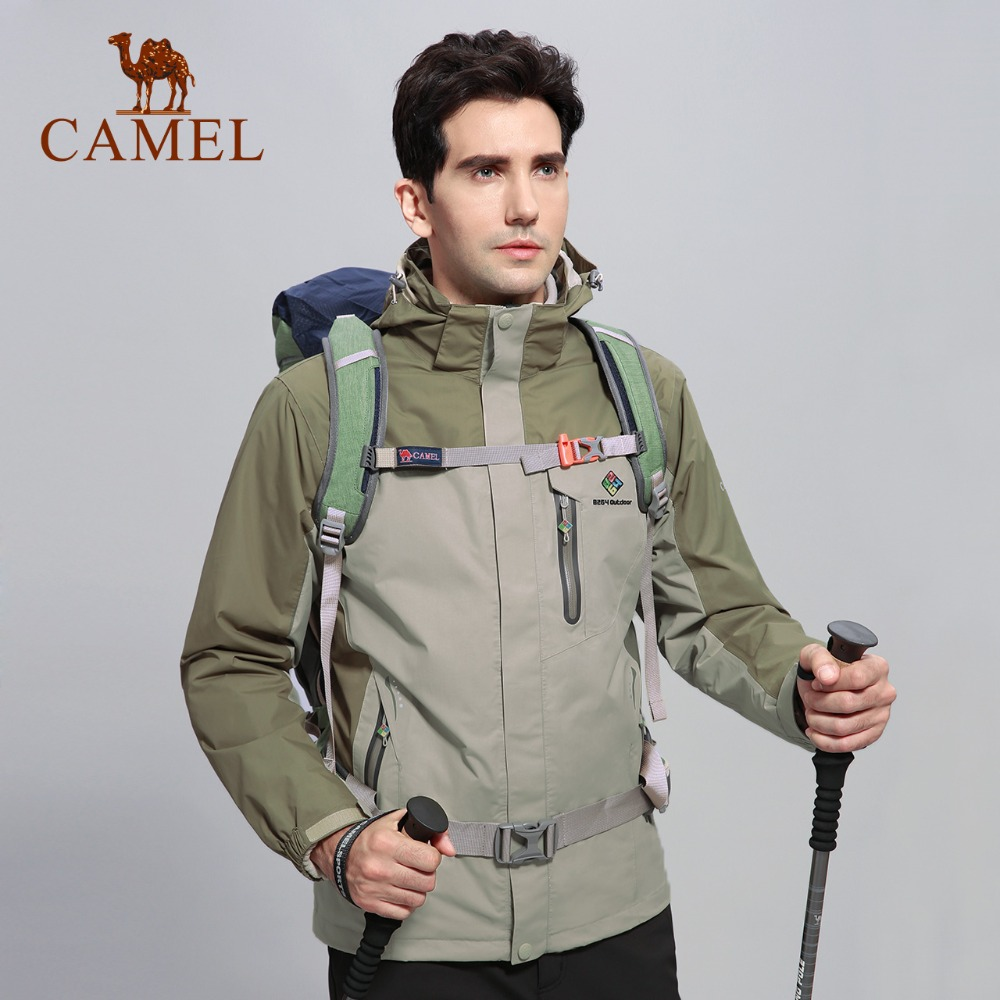 camel outdoor jacket 3 in 1 women windproof waterproof jacket female camping hiking jackets rain windstopper windbreaker CAMEL X 8264 Winter Outdoor Jacket Men Warm Waterproof Jacket 3 in 1 Camping Hiking Jackets Skiing Snowboarding Windbreaker