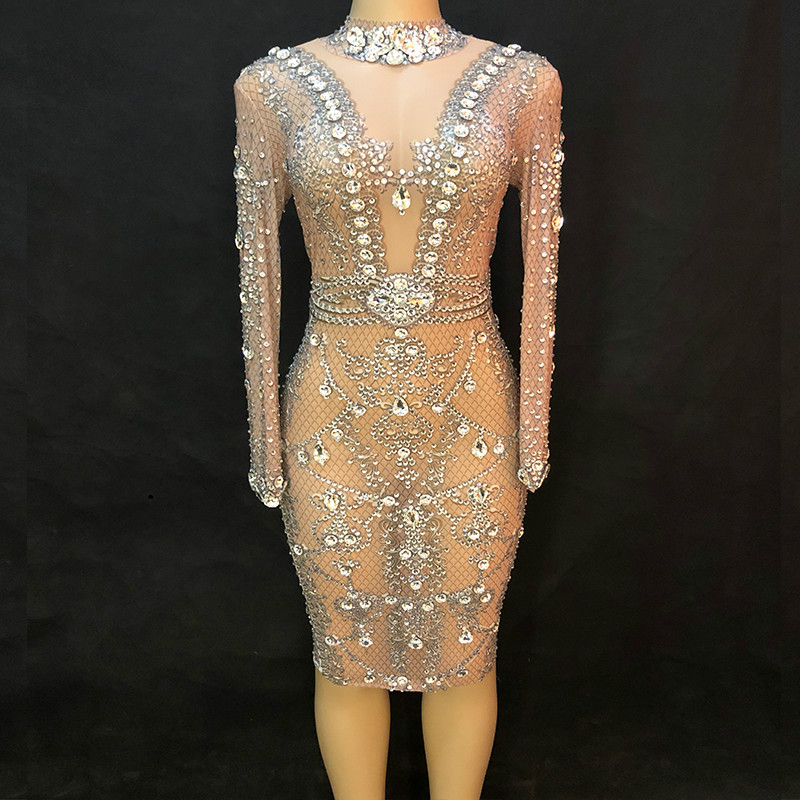<font><b>Sexy</b></font> Sparkling Rhinestones Dance Dress Women Party Birthday Dresses Nightclub DJ <font><b>DS</b></font> <font><b>Singer</b></font> Evening Prom Show <font><b>Stage</b></font> <font><b>Costumes</b></font> image