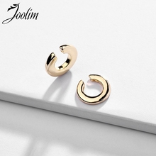 Joolim Jewelry Wholesale/On Trend Asymmetric Gold Color Clip Earrings Stylish for Women One big one Small