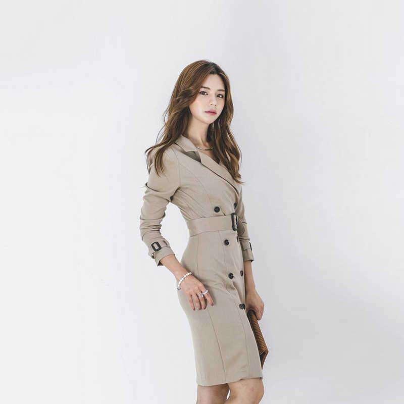 Moda kadın ince sıcak iş tarzı kalem elbise yeni varış zarif vintage rahat mizaç açık parti resmi elbise