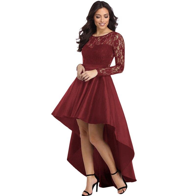 LOVEBATU Brand Summer Round collar Lace Long Sleeve Swallowtail Dress Sexy Party