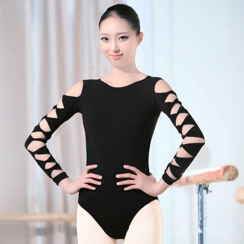 プロフェッショナル競争バレエレオタード用女性大人の女の子黒3/4長袖ダンス練習体操レオタードボディスーツ