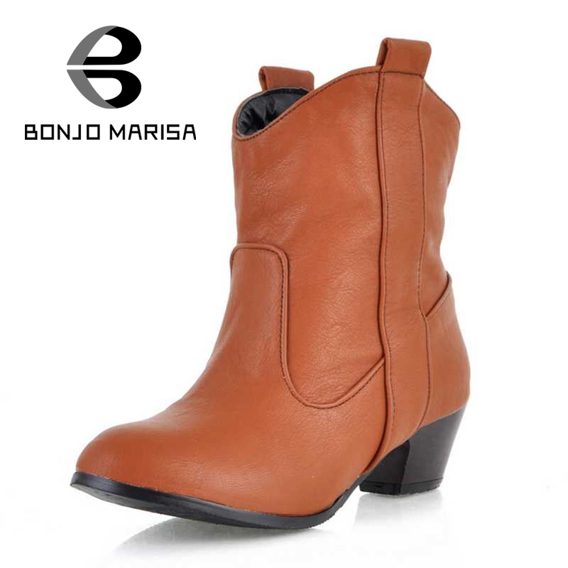 ФОТО BONJOMARISA Cool Motorcycle Boots Cowboy Stylish Chunky Heel Spring Autumn Shoes Round Toe Rubber Ankle Boots Big Size 34-45