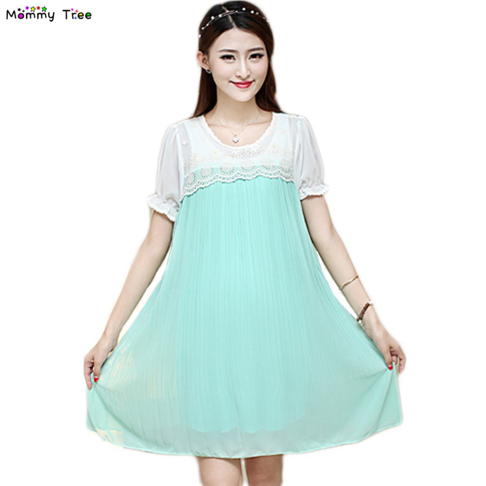 Online get cheap chiffon maternity dresses aliexpress 5 colors pleated chiffon maternity dress summer casual clothes for pregnant women plus size maternity dresses ombrellifo Image collections