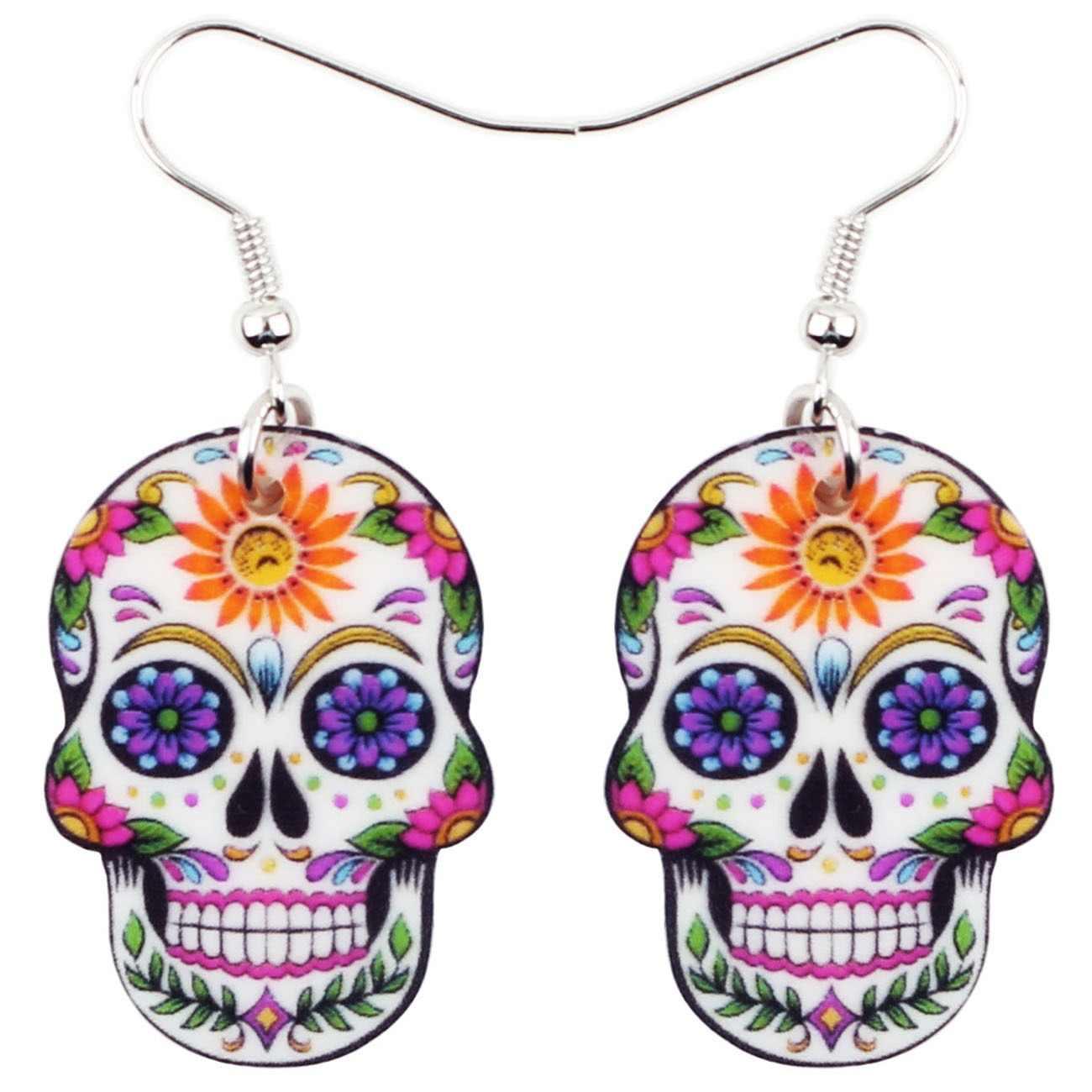 d989e7479 Bonsny Acrylic Dangle Drop Halloween Skeleton Skull Earrings Big Long Punk  Fashion Jewelry For Girls Women