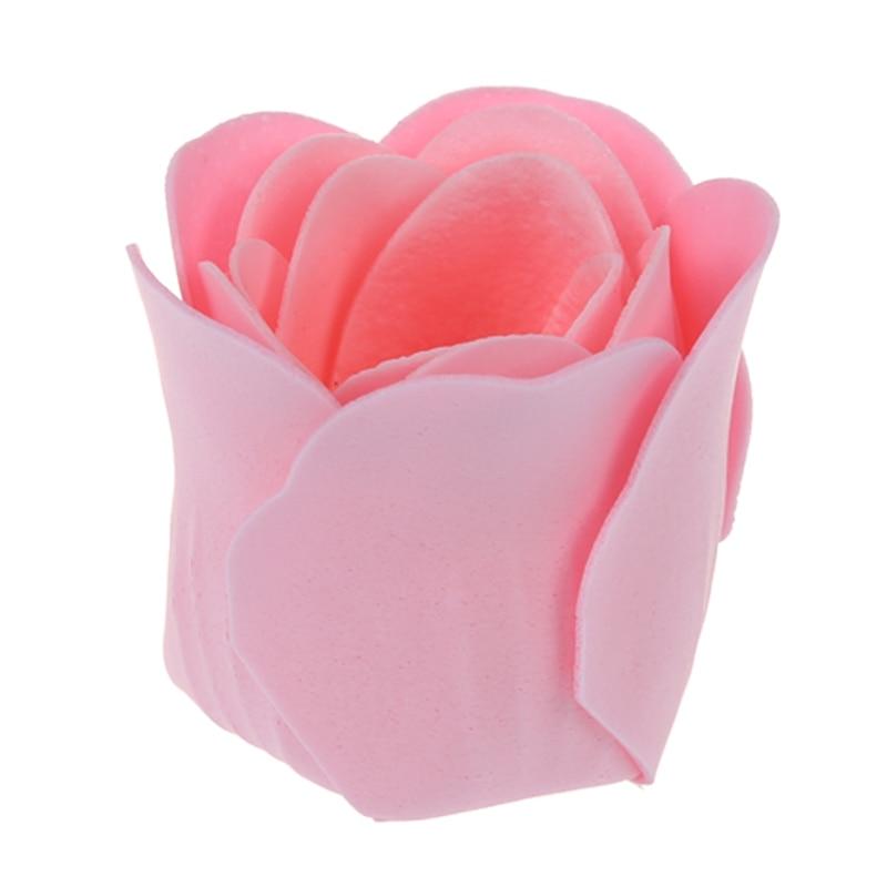 Light Pink Pleated Hem Heart Gift Box Bath Soap Flower Petal 18 in 1