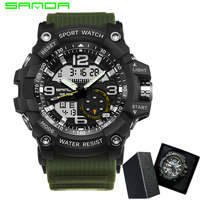 SANDA Brand Men Sports Watches Dual Display Analog Digital LED Electronic Quartz Wristwatches Waterproof Swimming Military