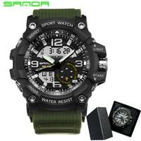 SANDA Brand Men Sports Watches Dual Display Analog Digital LED Electronic Quartz Wristwatches Waterproof Swimming Military