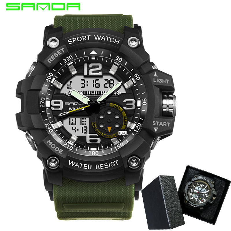 SANDA Brand Men Sports Watches Dual Display Analog Digital LED Electronic Quartz Wristwatches Waterproof Swimming Military Watch