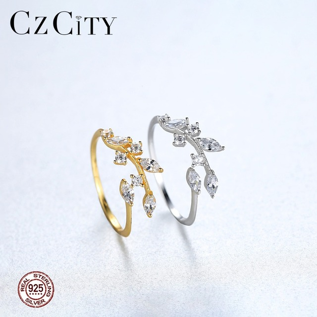 CZCITY Korean 925 Sterling Silver Handmade Olive Leaf Rings for Women Exquisite CZ Stone Adjustable Open Ring Silver 925 Jewelry 5