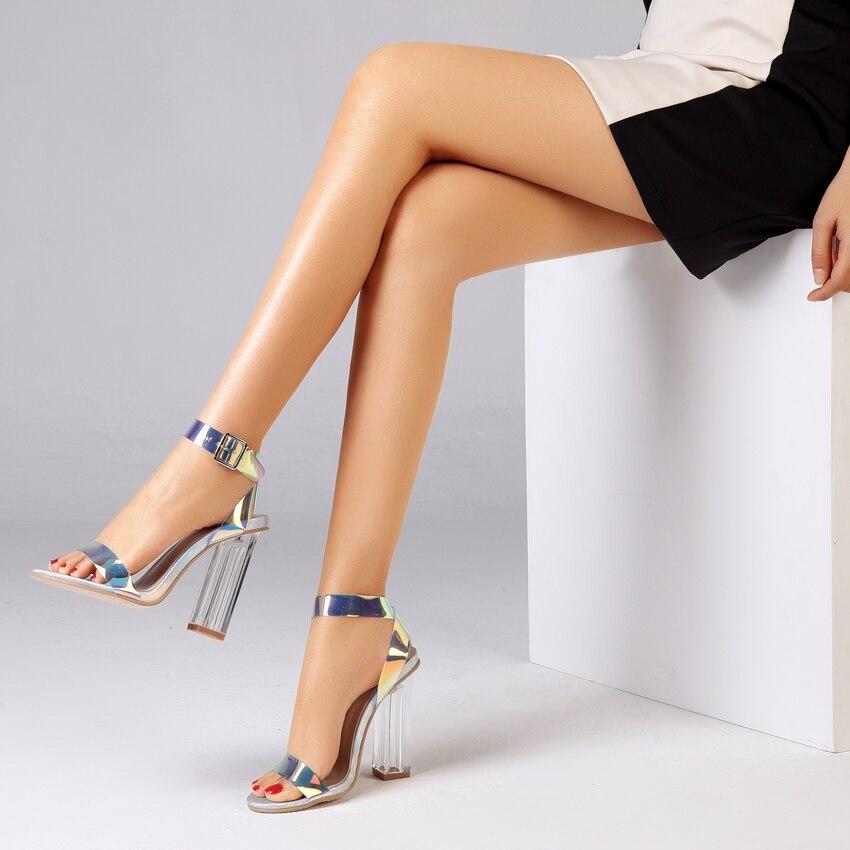HTB1QRwqbffsK1RjSszgq6yXzpXaU 2019 Summer PVC Clear Transparent Strappy High Heels Shoes Women Sandals Peep Toe Sexy Party Female Ladies Shoes Woman Sandalias