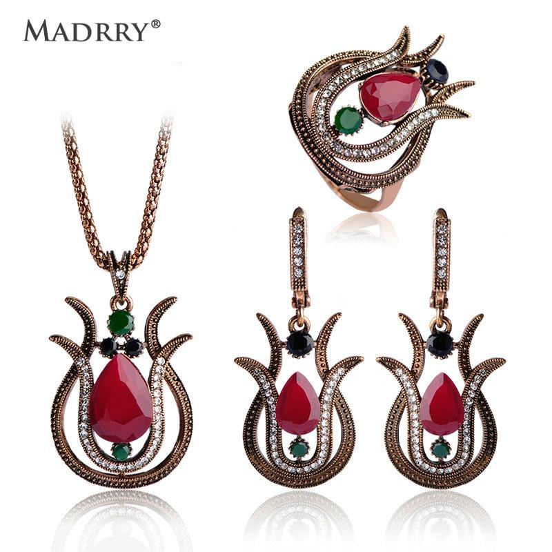 Tulipan Vintage tyrkiske smykkesæt Halskæde & øreringe & ring Luksusharpiks Krystallrødblå smykker Bijuterias Dame krave sæt