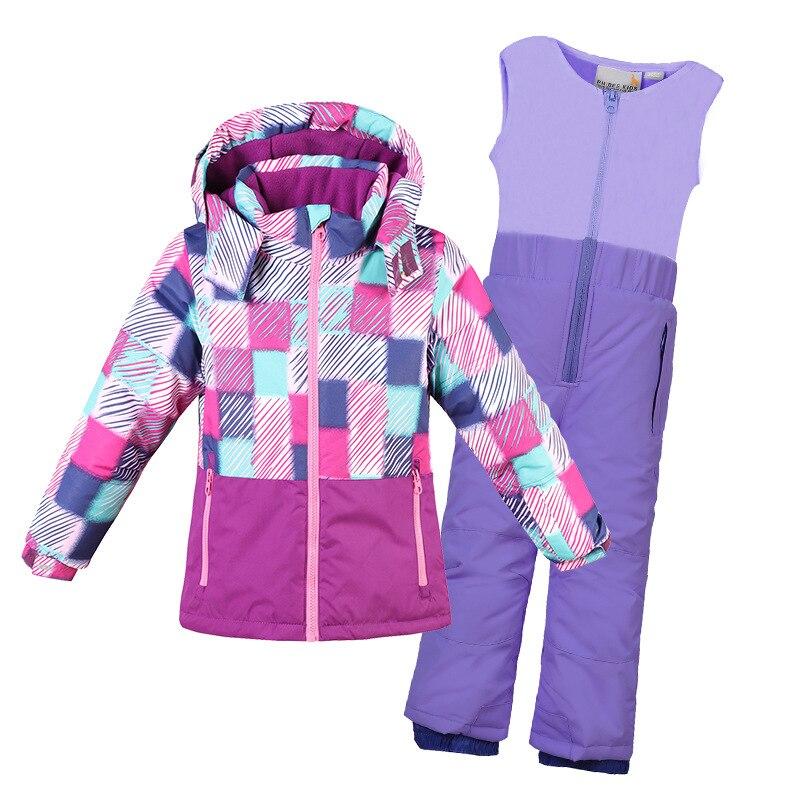 2019 fille Ski costumes polaire enfants garçons neige ensembles à capuche vestes salopette enfants vêtements ensembles extérieur coupe-vent Sport vêtements