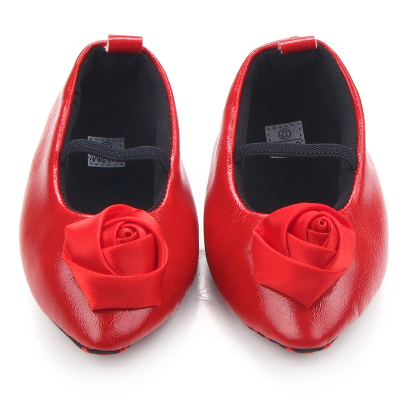 Baby Girl Retro Shoes Todder First Walkers PU Leather Princess Shoes Infant Girls Prewalker Flower Soft Sole Pointed Shoes