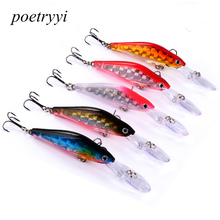 POETRYYI 1pc/5pcs Super Quality 5 Colors 9.5cm 7g  Hard Bait Minnow Fishing lures Bass Fresh Salt water 8#hooks 30