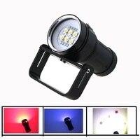 20000LM Led Underwater Video Flashlight 6x Cree SST 90 White Led + 4x Red Light+4x UV / Blue Light Waterproof Diving Lamp Torch