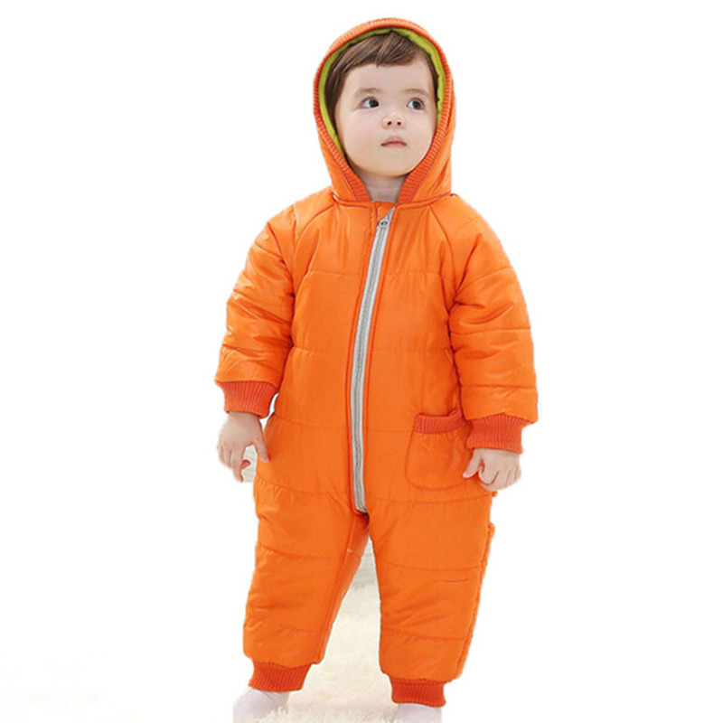 Winter Baby Boys Rompers Autumn Girls Hooded Full Clothing Thicken Cotton Padded Kids Warm Overalls Newborn Infant Jumpsuits new 2016 autumn winter kids jumpsuits newborn baby clothes infant hooded cotton rompers baby boys striped monkey coveralls