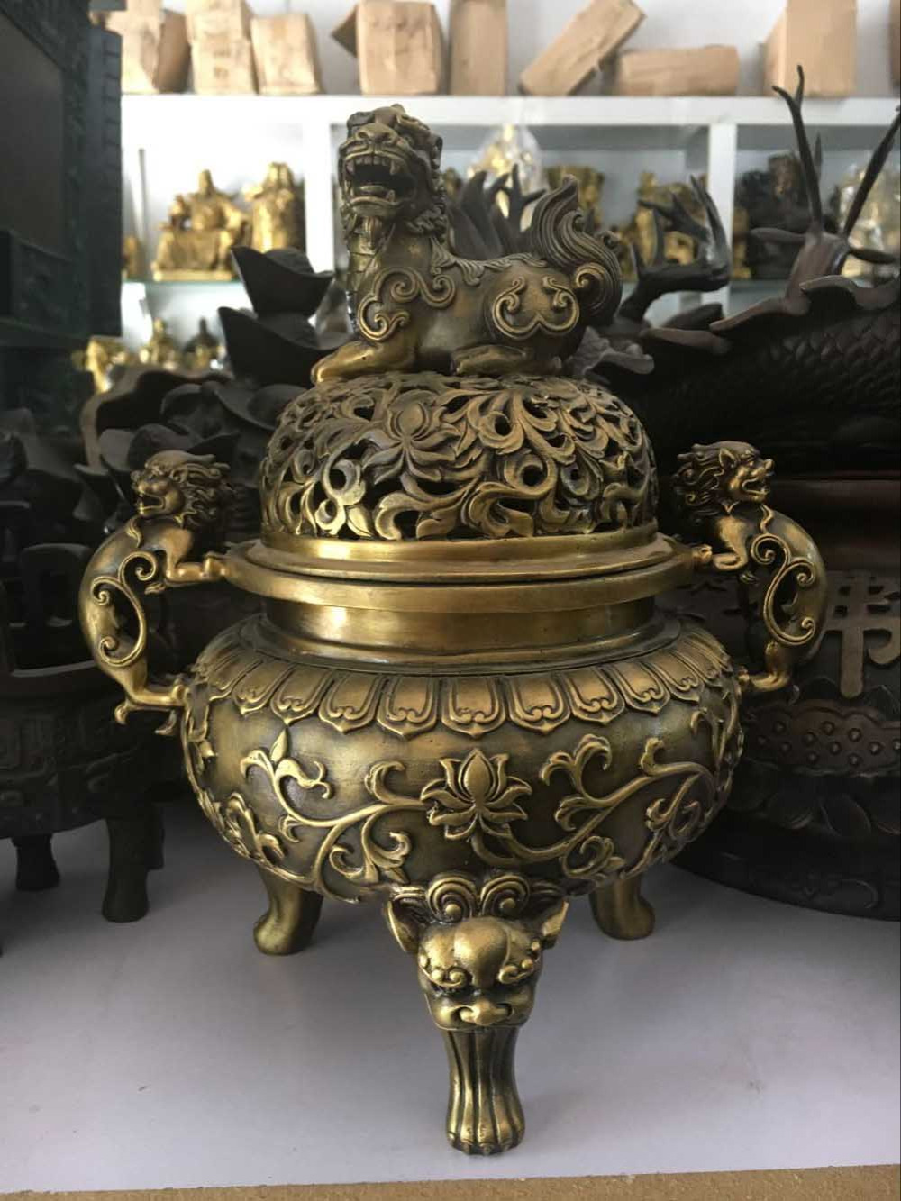 Bronze Pure copper wire incense burner Copper Home Indoor tea ceremony for Buddha sandalwood coil smoked stove antique ornaments