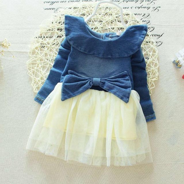 Primavera de los bebés lactantes Denim Jeans Mesh Patchwork arco largo manga princesa Tutu Dress niños vestidos fiesta Vestido S2735