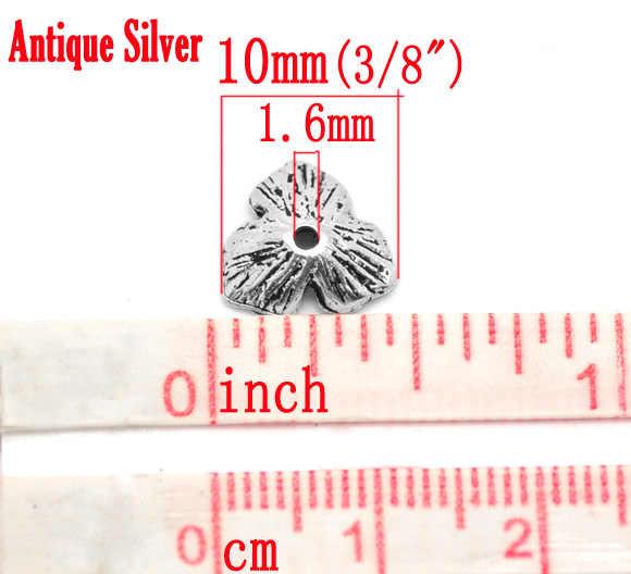 Metaliczny cynk koraliki ze stopu czapki czterolistna koniczyna Antique Silver (pasuje do koralików 14mm-20mm) wzór w paski 11mm x 10mm, 9 szt. Nowy