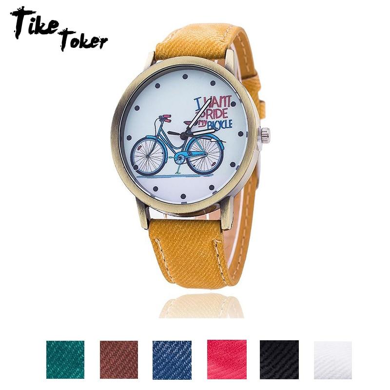 TIke Toker 2018 Fashion Brand Quartz Watches Bicycle Pattern Cartoon Watch Women Casual Vintage Leather Girls Kids Wristwatches