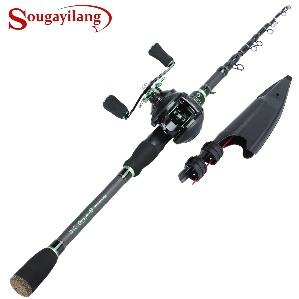 Sougayilang Telescopic Fishing Rod with BaitCasting Fishing Reel Combo Carbon Fiber Portable Casting Fishing Pole Reel