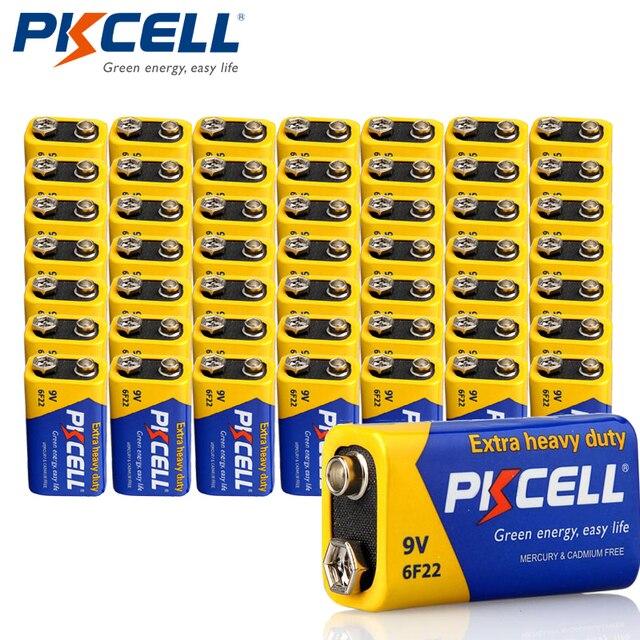 50pcs PKCELL 9V סוללה 6F22 סופר כבד החובה סוללות עבור עשן etectorelectronic מדחום מצלמה, צעצועים וכו
