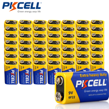 50pcs PKCELL 9V Battery 6F22 Super Heavy Duty Batteries  For Smoke etectorelectronic thermometer Camera,Toys etc