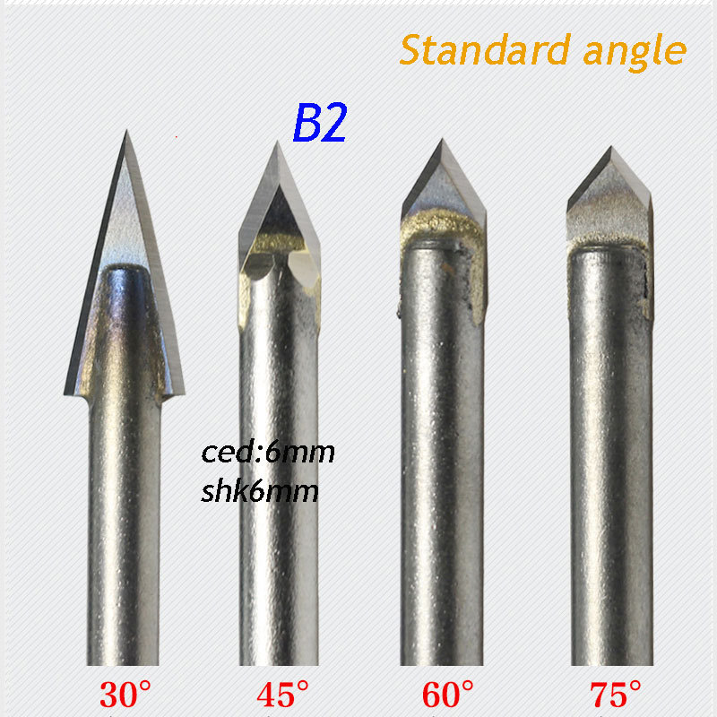 1pc Standard 6*6mm 45 Degree Angle Alloy Router Bits CNC Engraving Cutter Stone Carving Tools